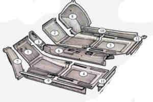 Rubber mat set Fiat 600