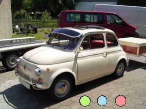 Zonneschild TàœV, groen, blauw of rood Fiat 500