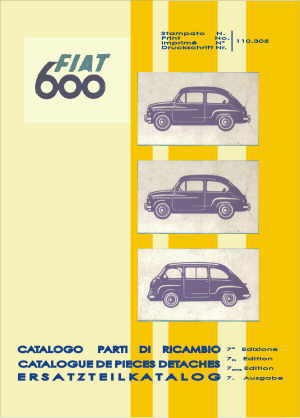Spare parts book technology (700 pages) Fiat 600/850/1000, Fiat 600 Multipla, Zastava 750