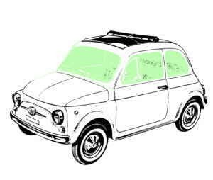 Set tinted windows green (8x) Fiat 500 F/L/R