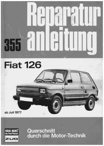 Car repair manual for Fiat 126 (1st and 2nd series)