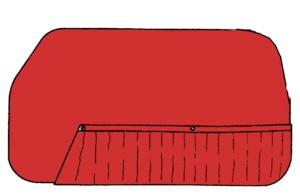 Türverkleidungen rot Fiat 600, Zastava 750
