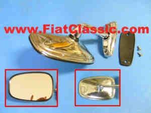 Rétroviseurs latéraux avec feuillure de portière chromée Fiat 126 - Fiat 500 - Fiat 600