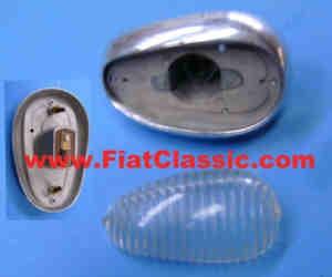 Blinker weiß Aluminium-Sockel gebraucht Fiat 600