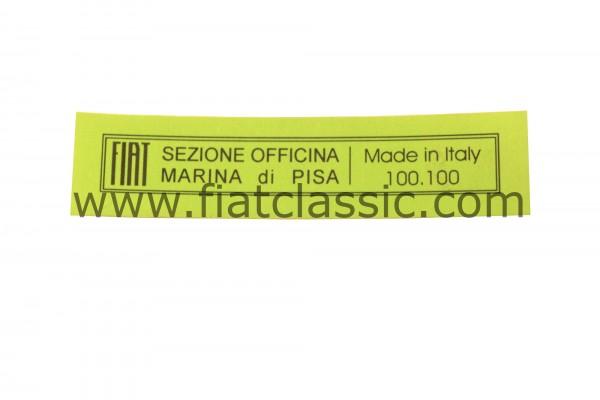 Aufkleber für Wagenheber Fiat 500 - Fiat 126 - Fiat 600