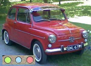 Pare-soleil TÜV, vert, bleu ou rouge Fiat 600