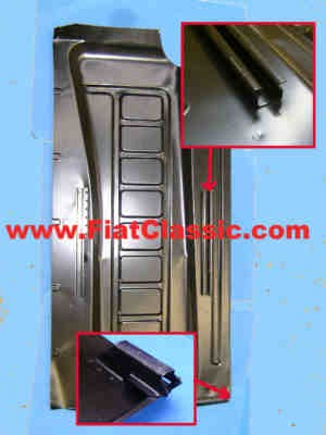 Bottom plate right with seat rails Fiat 600