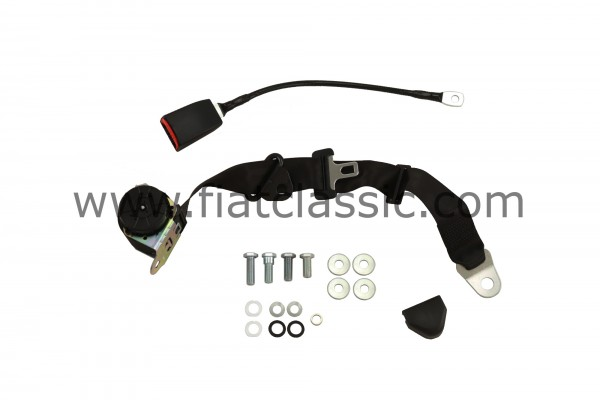 3-point automatic safety belt black Fiat 500 - Fiat 126 (1st series) - Fiat 600
