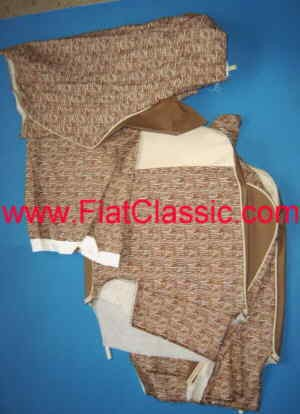 Seat covers fabric/imitation leather brown/white Fiat 500 F/L/R