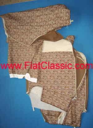 Rivestimenti dei sedili in tessuto/cuoio imitazione marrone/bianco Fiat 500 F/L/R