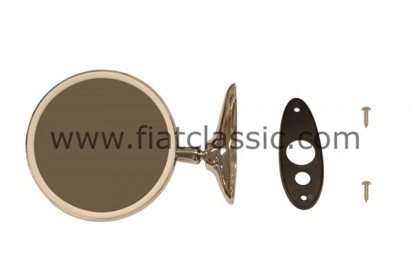Spiegel rond, 125 mm, verchroomd Gatenafstand 85 mm Fiat 126 - Fiat 500 - Fiat 600