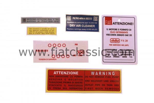 Sticker set Fiat 500 F/L/R/Bianchina