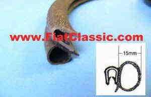 Frame rubber for rear hinged window linear meters Fiat 500