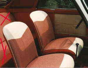 Sitzbezüge rot/weiß vorne Trasformabile Fiat 500 Bianchina