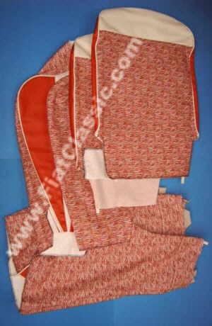 Housses de siège tissu/simili cuir rouge/blanc Fiat 500 F/L/R