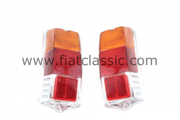 Pair of taillight glasses (with rings) Fiat 500 F/L/R