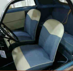 Seat covers blue/white complete set Trasformabile Fiat 500 Bianchina
