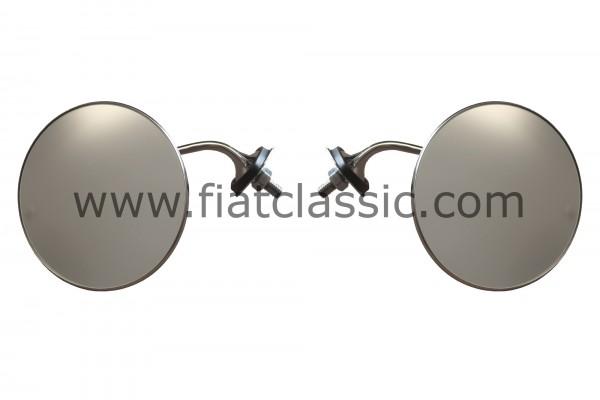 Jeu de miroirs ronds en acier inoxydable/chrome Fiat 126 - Fiat 500 - Fiat 600