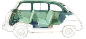 Set coprisedili 4/5-seater blu/verde/rosso/marrone Fiat 600 Multipla