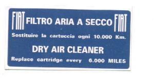Aufkleber Luftfiltergehäuse Fiat 500 - Fiat 126 - Fiat 600