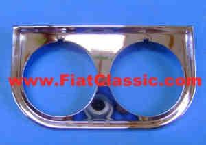 Tableau de bord en chrome, 2 trous Fiat 126 - Fiat 500 - Fiat 600