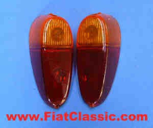Pair of taillight glasses 1st series Fiat 500 N/Jolly - Fiat 600