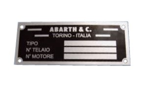 Plaque signalétique ABARTH Fiat 126 - Fiat 500 - Fiat 600