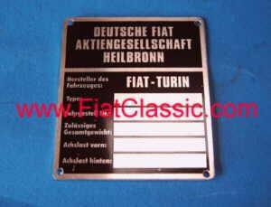 Typeplaatje Fiat 126 - Fiat 500 - Fiat 600