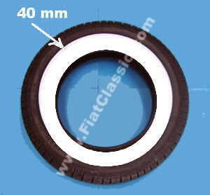 White wall tyre 145/70-12 40mm Fiat 126 - Fiat 500 - Fiat 600