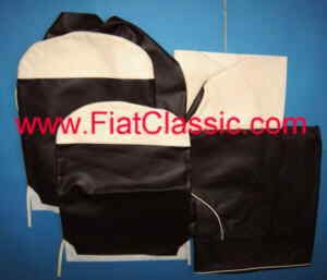 Seat covers black/white front and rear Fiat 500 F/L