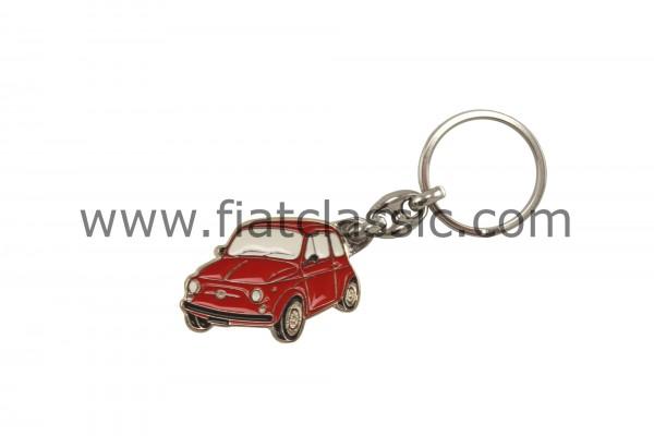 Schlüsselanhänger Fiat 500 Silhouette rot 41x29mm